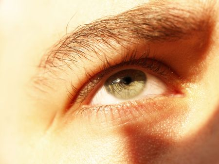 dilate: Close-up of a man looking up Stock Photo