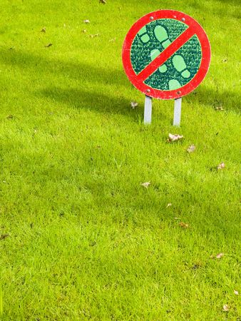 Dont walk on the grass here! photo