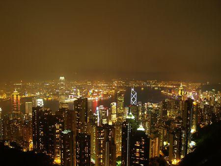 Hongkong by night as seen from sky peak