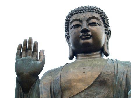 buddha face: Thirty metre high Lantau Buddha statue in Hongkong, China Stock Photo