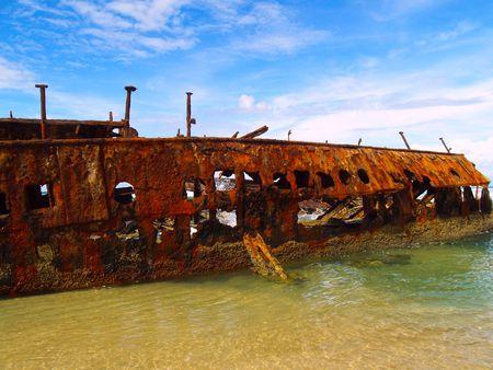 The Maheno wreck on Fraser Island, the world largest sand Island (Australia) photo