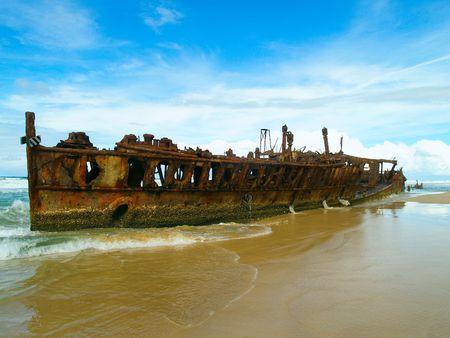 bygone: The Maheno wreck on Fraser Island, worlds largest sand Island (Australia)