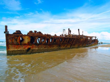 ship wreck: The Maheno wreck on Fraser Island (Australia) Stock Photo