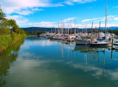port douglas: Small sailboats in the harbor in Port Douglas, Australia Stock Photo