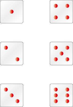 certainty: Dices with different sides of numbers showing
