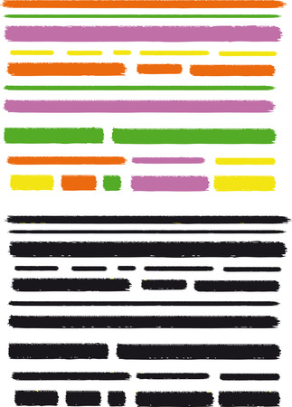 Multi colored and black marker lines, full editable colors