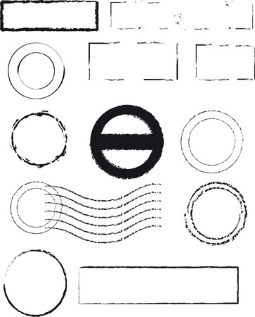 Different kind of rubber stamps, full editable vector