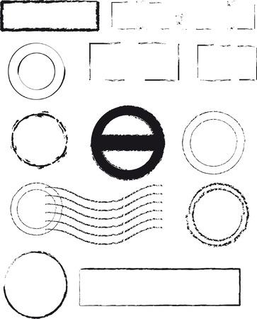 rubberstamp: Diversi tipi di timbri in gomma, pieno vettoriale modificabile