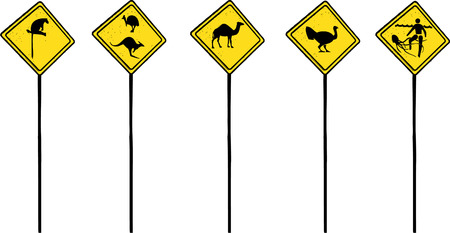 emu: Australian traffic signs in with different wildlife on it (cartoon style) - Vector file