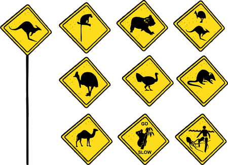 Australian traffic signs in with different wildlife on it (cartoon style) - Vector file Vector