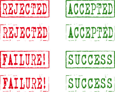 succes: Different kind of rubber stamps, Accepted, rejected, failure, succes