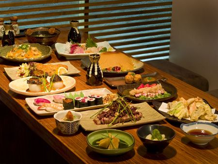 saki: Delicious Japanese food stalled as a menu on a table in a Japanese restaurant Stock Photo