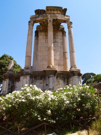 The ancient temples in the forum romanum in Rome, Italy photo