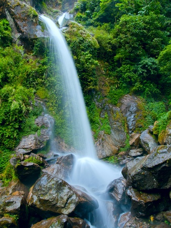 seven sisters: Beatiful waterfall the seven sisters in Sikkim, India
