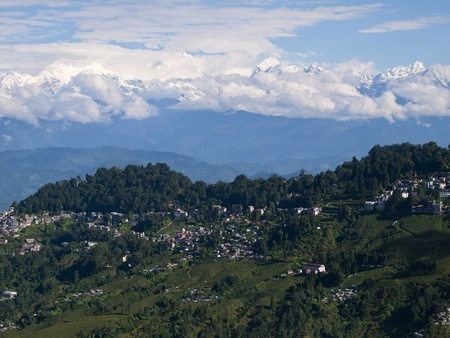 Beautiful view over the kanchenjunga range in the Himalayas with Darjeeling in the foreground