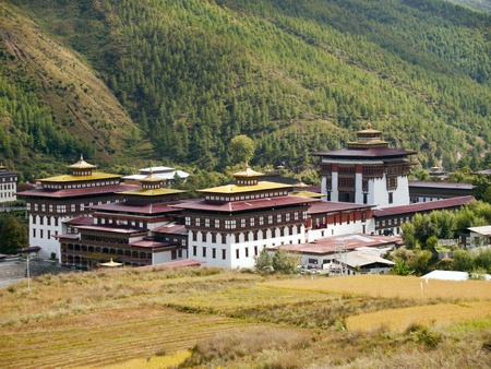 Tashichhoedzong is a Buddhist monastery and fortress on the northern edge of the city of Thimpu in Bhutan Stock Photo