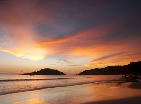 Mooie zonsondergang op Palolem Beach, Goa, India Stockfoto