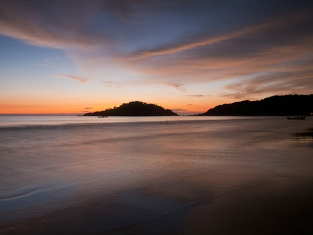 Beautiful sunset on Palolem beach, Goa, India photo