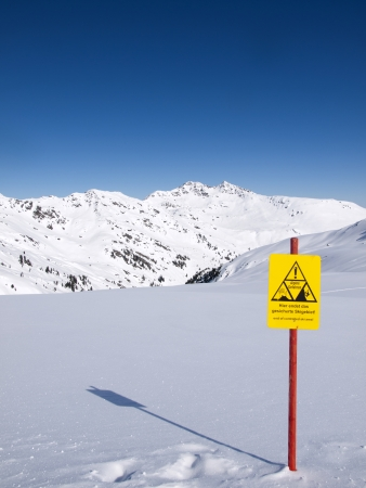alpine zone: The end of the controlled ski area high in the Alps Stock Photo