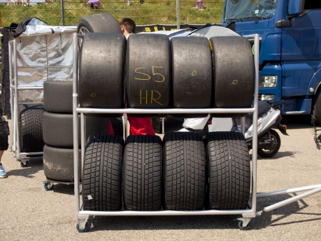 touring car: Race tyres are stalled behind the pitlane during a race in Zandvoort, The Netherlands Stock Photo