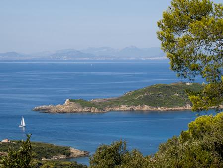 Uitzicht vanaf het Franse Port-Cros-eiland in de Middellandse Zee Stockfoto