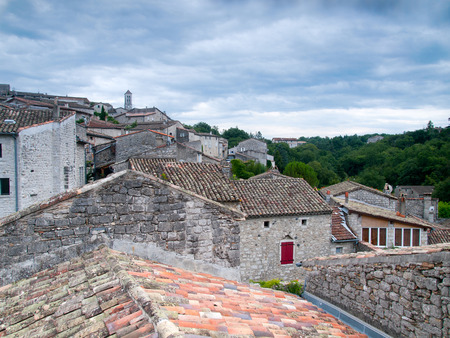 rooftiles: View over the rooftops of the ancient city of Balazuc in the Ardeche, France