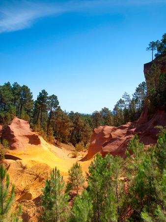 roussillon: The vivid red ocher Cliffs in Roussillon, Provence, France
