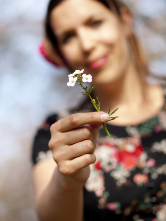 Beautiful girl handing over a cuckoo flower during a picnic in the spring Banco de Imagens