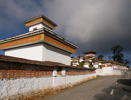 The 108 chortens on the Dochula Pass between Punakha and Thimpu in Bhutan photo