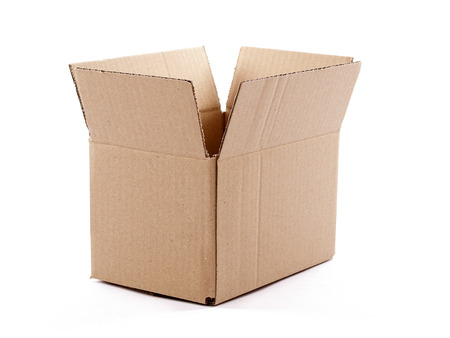 simple store: Small empty cardboard box isolated over a white background Stock Photo