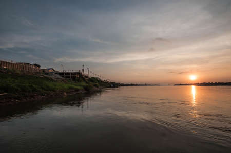 Landscape view of Mae Khong river in sunset at Nong Khai Province Thailand