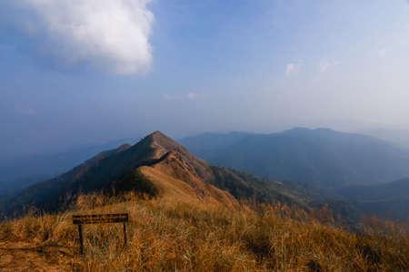 warning signboard at top of Khao Chang Phuak Mountain in Thong Pha Phum National Park ,Kanchanaburi province Thailand
