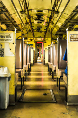 The walkway in vintag train in Bangkok Thailand