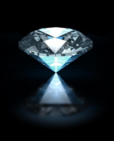 Blue diamond on black background