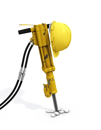 Jackhammer and hardhat on it, with clipping paths