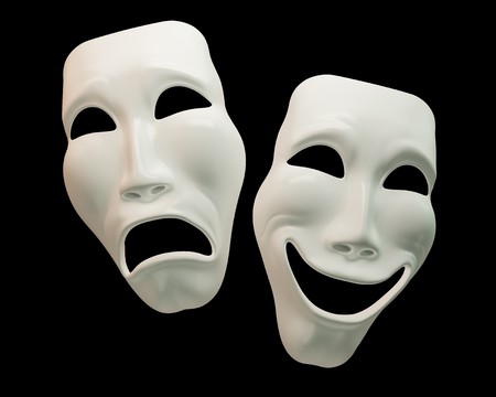 comedy mask: Drama and comedy-theatre symbols with clipping paths Stock Photo