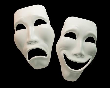 Simboli di dramma e commedia-teatro con i tracciati di ritaglio Archivio Fotografico - 7743093