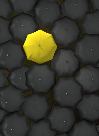 standing out of the crowd: Lonely yellow umbrella Stock Photo