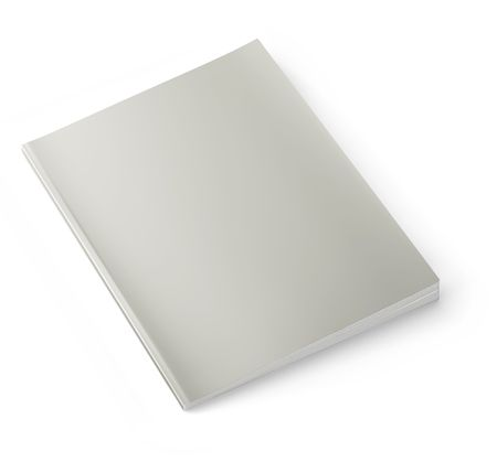 Blank magazine isolated on white background.