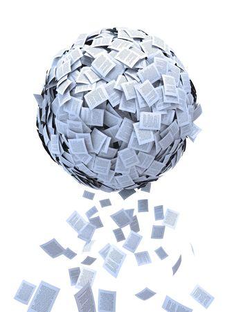Document sphere-Printed media concept.  Archivio Fotografico