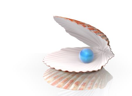 Blue pearl in a shell. Stock Photo - 8230984