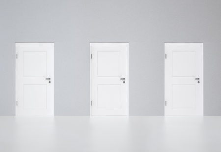 Three white doors on the grey wall. Concept image