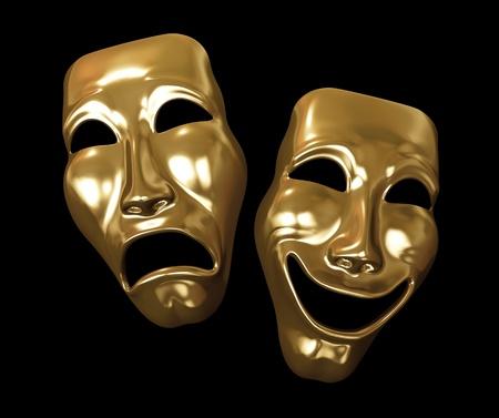 Drama and comedy-theatre symbols on black