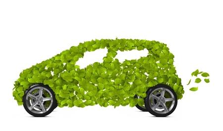 eco car: Funny milieuvriendelijke auto geïsoleerd op wit. Go Green-concept afbeelding.