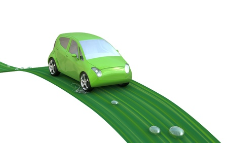 Environmentally friendly car on a leaf with water droplets. Go Green- concept image. Stock Photo
