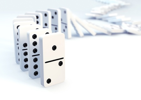 Row of dominoes collapsing- 3D concept image photo