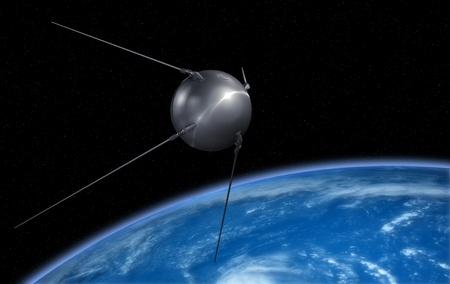 Sputnik satellite on Earth orbit. Stock Photo