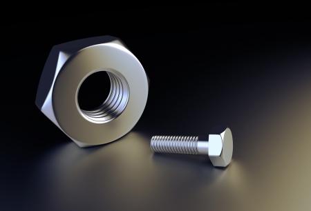 Bolt and Nut on a black reflective background