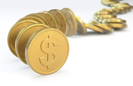 Row of coins collapsing. 3D concept image Stock Photo - 12377776