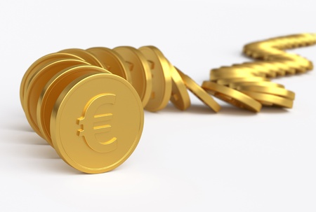 Row of coins collapsing II. 3D concept image Stock Photo - 12377777